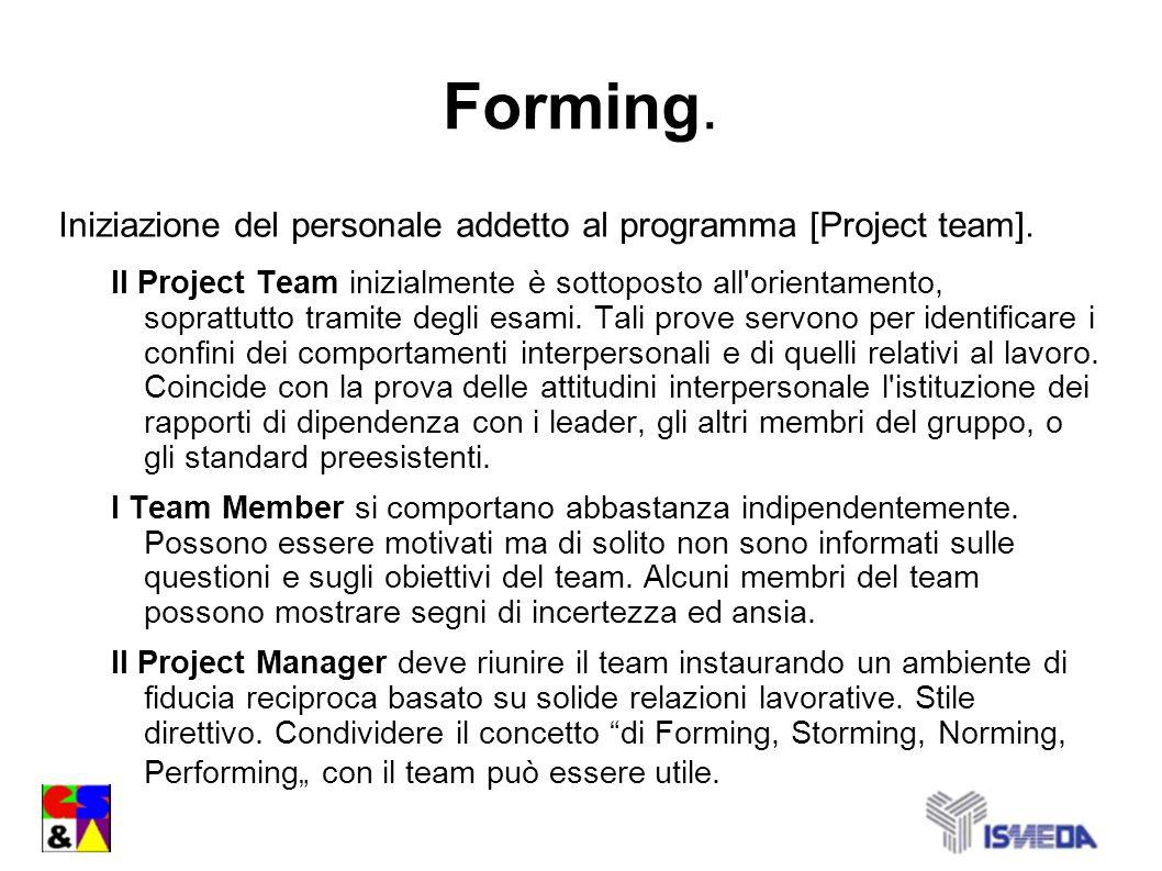 Forming. Iniziazione del personale addetto al programma [Project team].